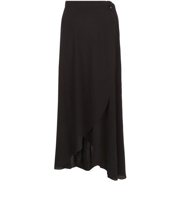 Black Wrap Maxi Skirt