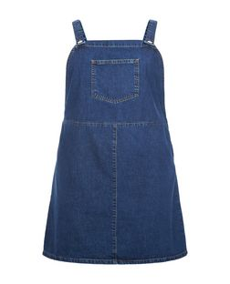 Plus Size Blue Denim Pinafore Dress  | New Look
