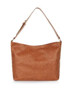 Tan Geo Embossed Shoulder Bag  | New Look