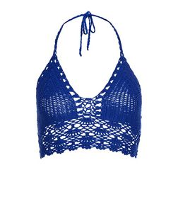 Blue Crochet Bralet  | New Look