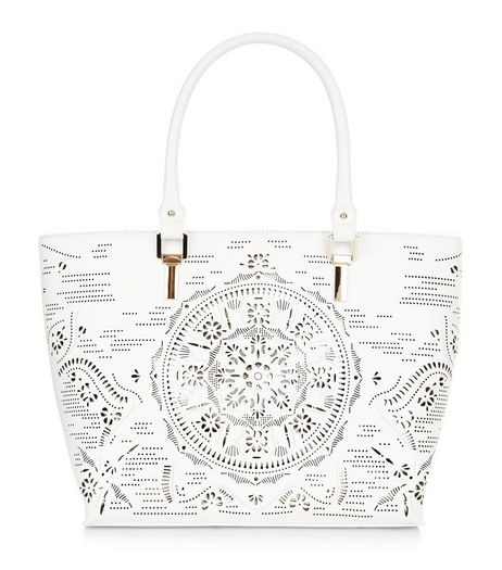 White Laser Cut Out Tote Bag  | New Look