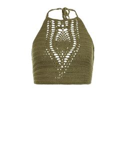 Khaki Crochet Halter Neck Crop Top  | New Look