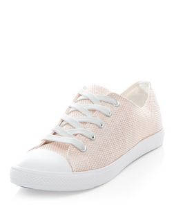 Pink Shimmer Canvas Lace Up Plimsolls  | New Look