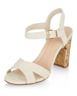 Wide Fit Cream Canvas Cross Strap Block Heel Sandals  | New Look