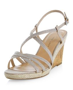 Wide Fit Cream Diamante Trim Cross Strap Wedges  | New Look