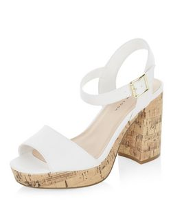 Wide Fit White Leather-Look Block Heels  | New Look