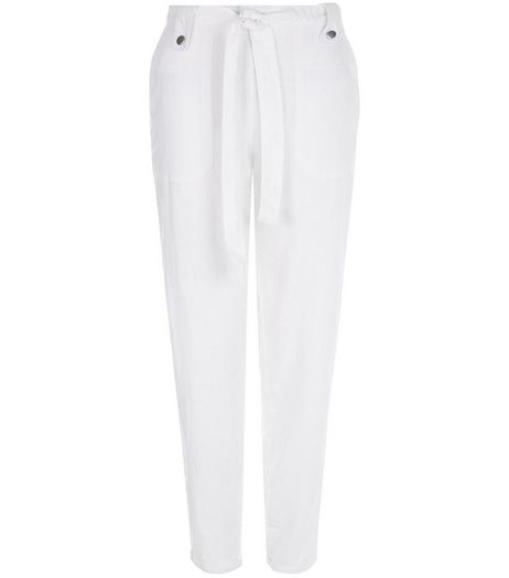 Tall White Belted Slim Leg Trousers | New Look