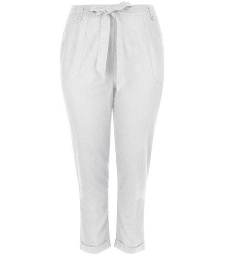 Curves White Belted Trousers  | New Look
