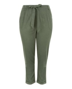 Plus Size Khaki Belted Trousers  | New Look