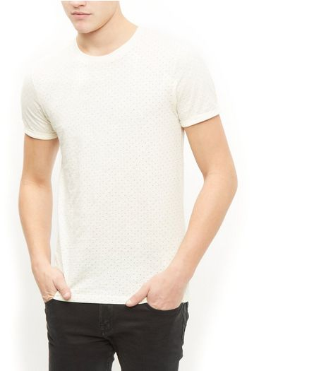 Jack and Jones Premium White Polka Dot Crew Neck T-Shirt | New Look
