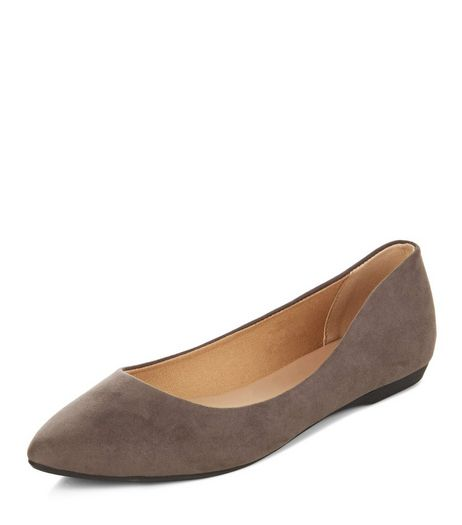 Grey Suedette Pointed Pumps | New Look