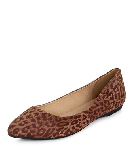 Stone Suedette Leopard Print Pointed Pumps  | New Look