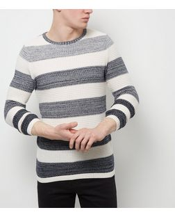 Jack and Jones Premium White Stripe Crew Neck Jumper | New Look