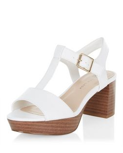 Teens White Leather-Look T-Bar Block Heels | New Look