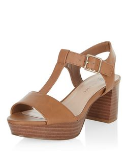 Teens Tan Leather-Look T-Bar Block Heels | New Look