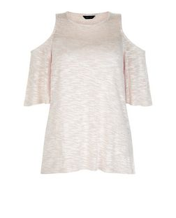 Shell Pink Fine Knit Cold Shoulder Flutter Sleeve Top  | New Look