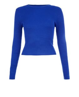 Teens Blue Ribbed Crew Neck Long Sleeveless Top  | New Look