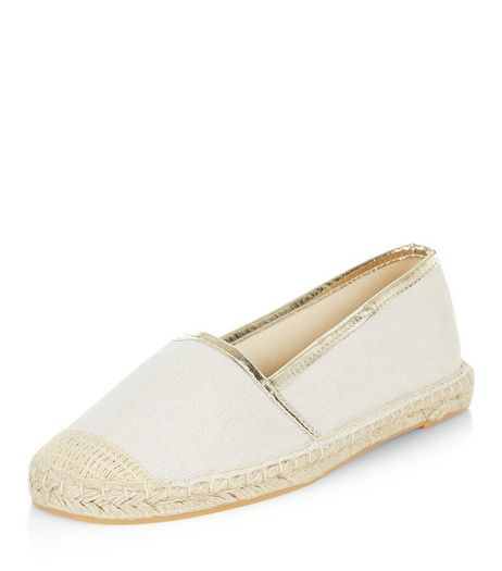 Teens Cream Glitter Canvas Espadrilles  | New Look