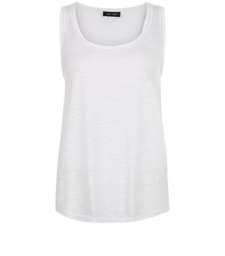 White Raw Trim Vest  | New Look