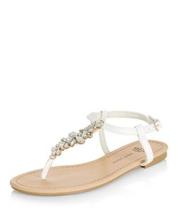 Teens White Leather-Look Embellished Sandals | New Look