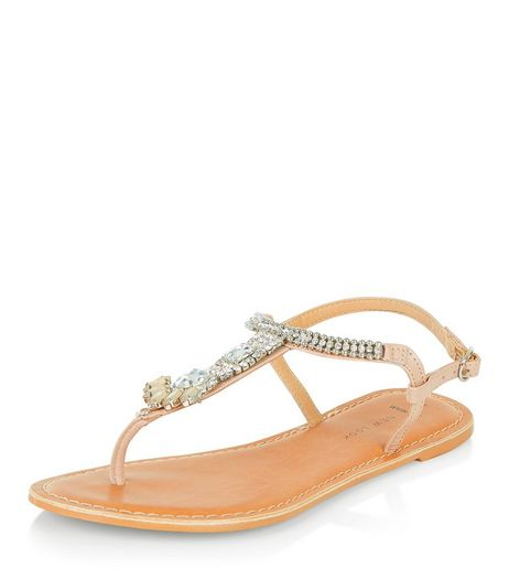 Wide Fit Stone Leather Diamante Trim Sandals  | New Look