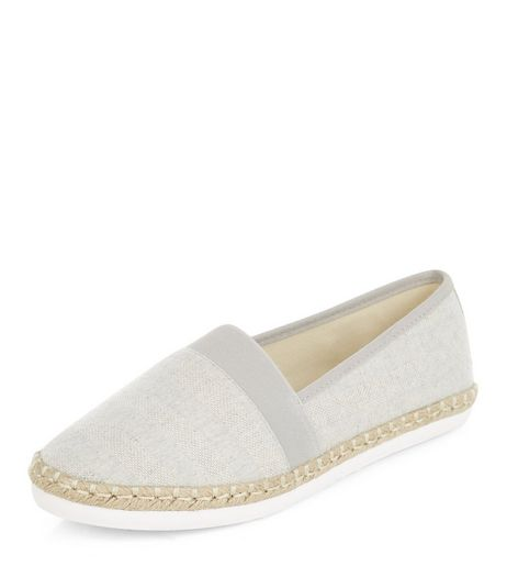 Wide Fit Grey Colour Block Espadrilles | New Look
