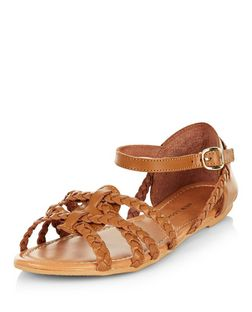 Wide Fit Tan Leather Plaited Cross Strap Sandals  | New Look