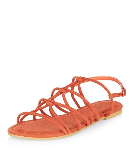 Wide Fit Orange Suedette Knotted Strap Sandals  | New Look