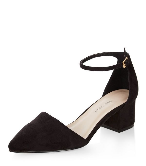 Wide Fit Black Suedette Pointed Ankle Strap Block Heels