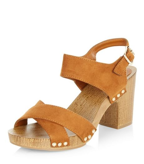 Wide Fit Tan Contrast Suedette Cross Strap Heeled Sandals  | New Look