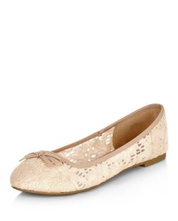Wide Fit Stone Lace Ballet Pumps  | New Look