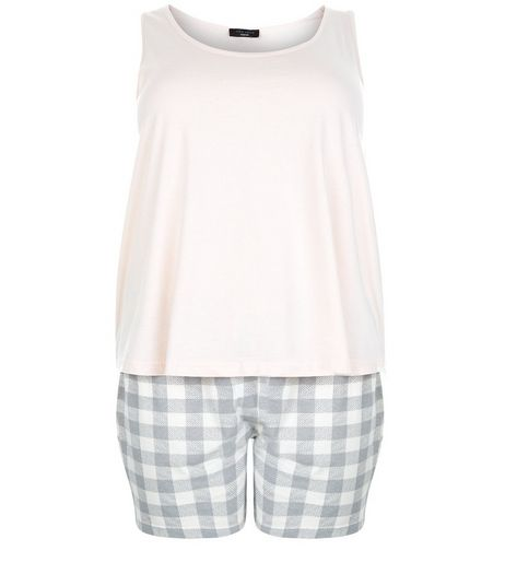 Plus Size Pink Gingham Check Pyjama Set | New Look