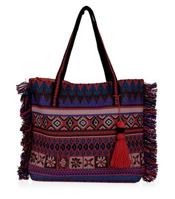 Pink Aztec Print Tassel Fringed Shopper Bag