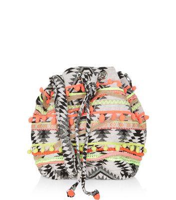 black-aztec-woven-pom-pom-trim-duffle-bag