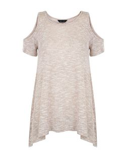 Tan Fine Knit Cold Shoulder Hanky Hem T-Shirt  | New Look
