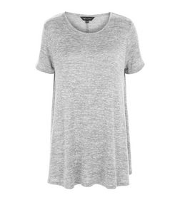 Grey Fine Knit Swing T-Shirt | New Look