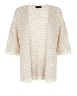 Stone Fine Knit Fray Trim Kimono  | New Look