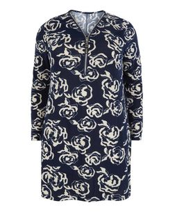 Samya Blue Rose Print Zip Front Tunic | New Look