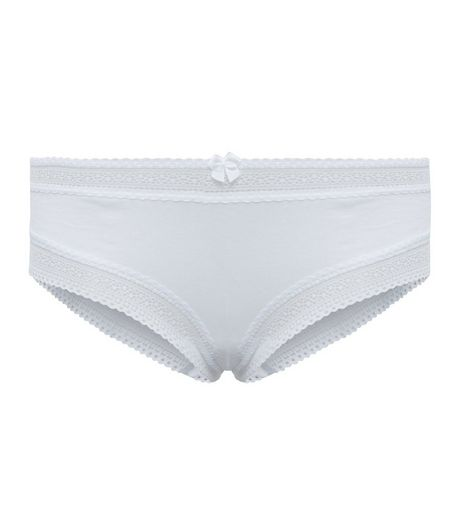 White Lace Trim Short Briefs | New Look