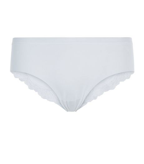 White No VPL Lace Trim Brazilian Briefs | New Look