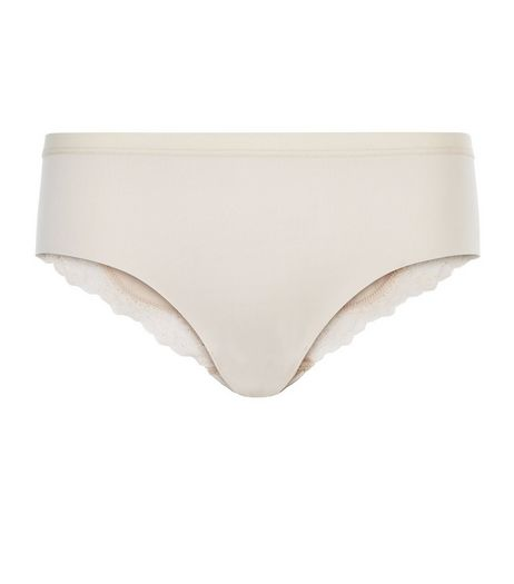 Shell Pink No VPL Lace Trim Brazilian Briefs | New Look