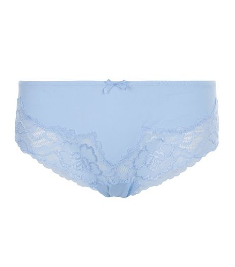 Blue Cut Out Lace Briefs | New Look