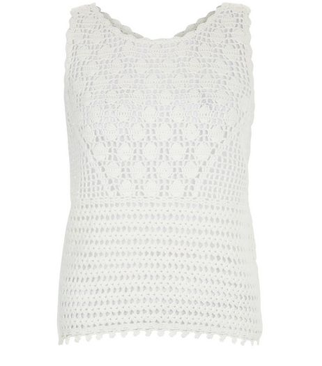 Cream Crochet Tie Back Vest  | New Look