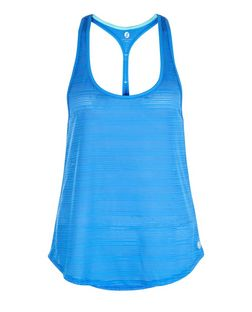 Blue Burnout Stripe Sports Vest  | New Look