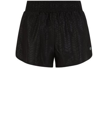 black-woven-chevron-print-sports-shorts