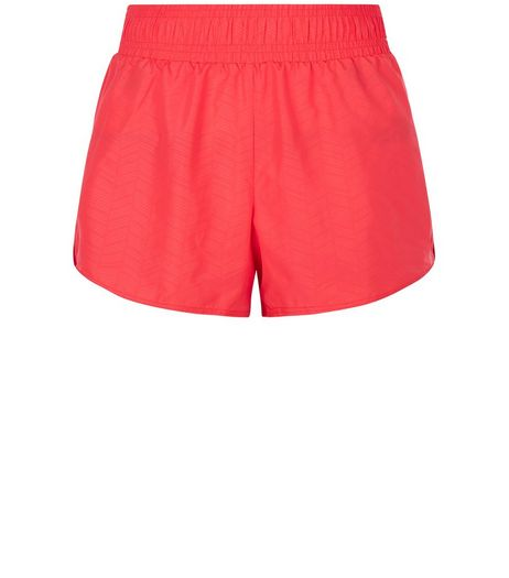 Bright Pink Woven Chevron Print Sports Shorts  | New Look