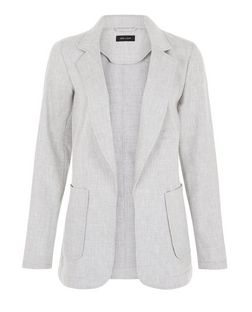 Light Grey Linen Mix Patch Pocket Blazer | New Look