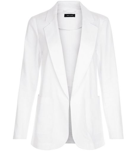 White Linen Mix Patch Pocket Blazer | New Look