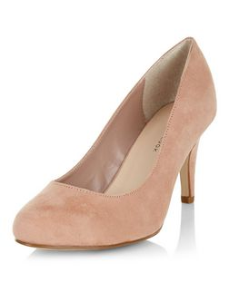 Wide Fit Stone Suedette Mid Heels  | New Look