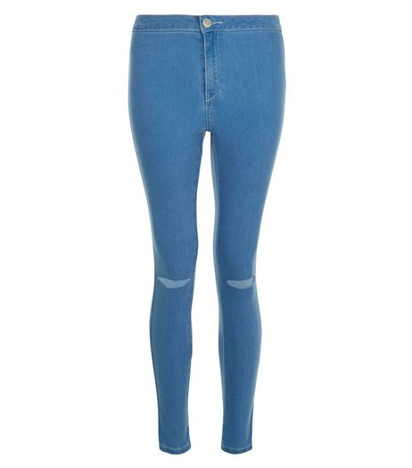 Teens Blue Ripped Knee High Waist Super Skinny Jeans | New Look